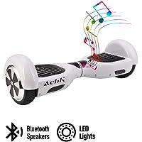 """ACBK - Patinete Eléctrico Hover Autoequilibrio con Ruedas de 6.5"""" (Altavoces Bluetooth + Luces Led integradas) Velocidad máxima: 10-12 km/h - Autonomía 10-20 km (Blanco)"""