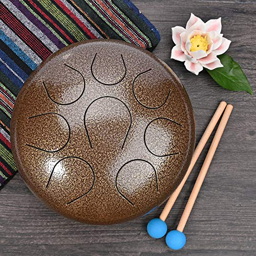 CVNC 10 Inch Brown Color Stainless Steel Tongue Drum Percussion Instrument Free Mallet & Bag Powerful Energy