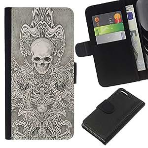 ZCell / Apple Iphone 5C / Angel Death White Black Sketch Skull / Caso Shell Armor Funda Case Cover Wallet / Ángel Muerte Blanco Negro Croq