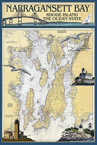 (Narragansett Bay, Rhode Island - Nautical Chart (12x18 Art Print, Wall Decor Travel)