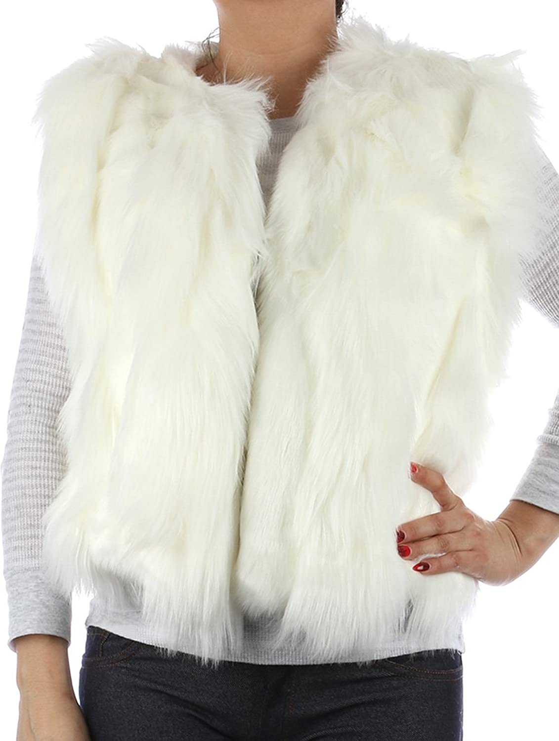 Parisian Chic Scarf Russian Style Ribbed Soft Fur Vest Single Hook Closure X Acrylic Medium White
