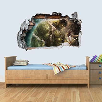 Beau L Vinyl Wall Smashed 3D Art Stickers Of Illustrated Hulk Poster Bedroom  Boys Girls