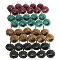 "Drill Warehouse 40Pcs 1"" (25mm) Abrasive Wheel Buffing Polishing Wheel Set For Dremel Rotary Tool"