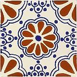 terra cotta tiles Box of 9 - 4¼ x 4¼ Terra Cotta & Blue Lace - Talavera Mexican Ceramic Tiles