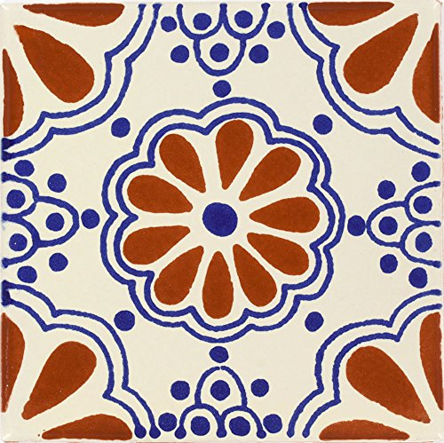 Box of 90 - 4¼ x 4¼ Terra Cotta & Blue Lace - Talavera Mexican Ceramic Tiles