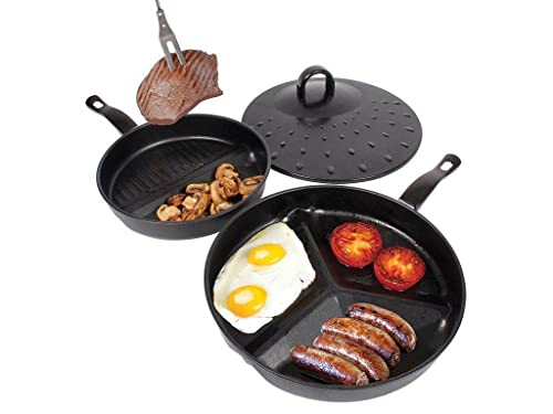 3 Pc Metal Non Stick Divider Frying Pan Set With Lid