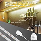 Motion Under Cabinet Led Light,Derlson Motion Sensor Led Night Light -USB Rechargeable Battery, Stick Anywhere, Automatic Shut Off Timer- for Cabinets, Closets, Stairs and Beds -Warm White, 1Pack