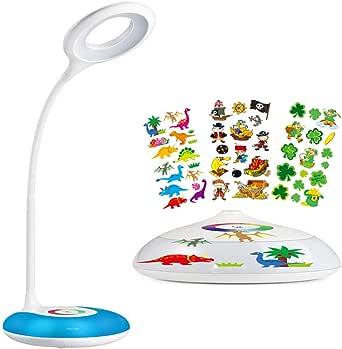 Lámpara de escritorio, HIHIGOU Lámpara de mesa LED 3.2W con Luz de ambiente Multicolor, panel táctil para la luz de color y 3 niveles de brillo,USB de Carga, Cuello Cisne Flexo,Protect los Ojos,blanco