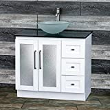Cheap 36″ Bathroom Solid wood Vanity Cabinet Black Granite Top Vessel sink B3621WL-BK12F