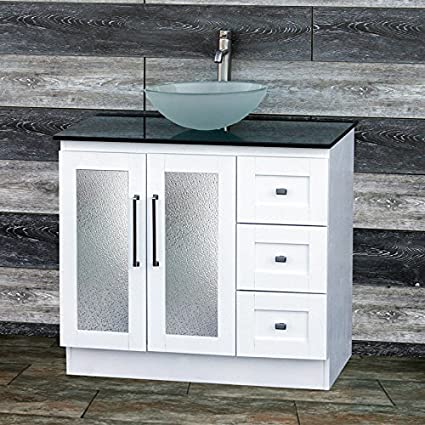 36u0026quot; Bathroom Solid wood Vanity Cabinet Black Granite Top Vessel sink B3621WL-BK12F & 36