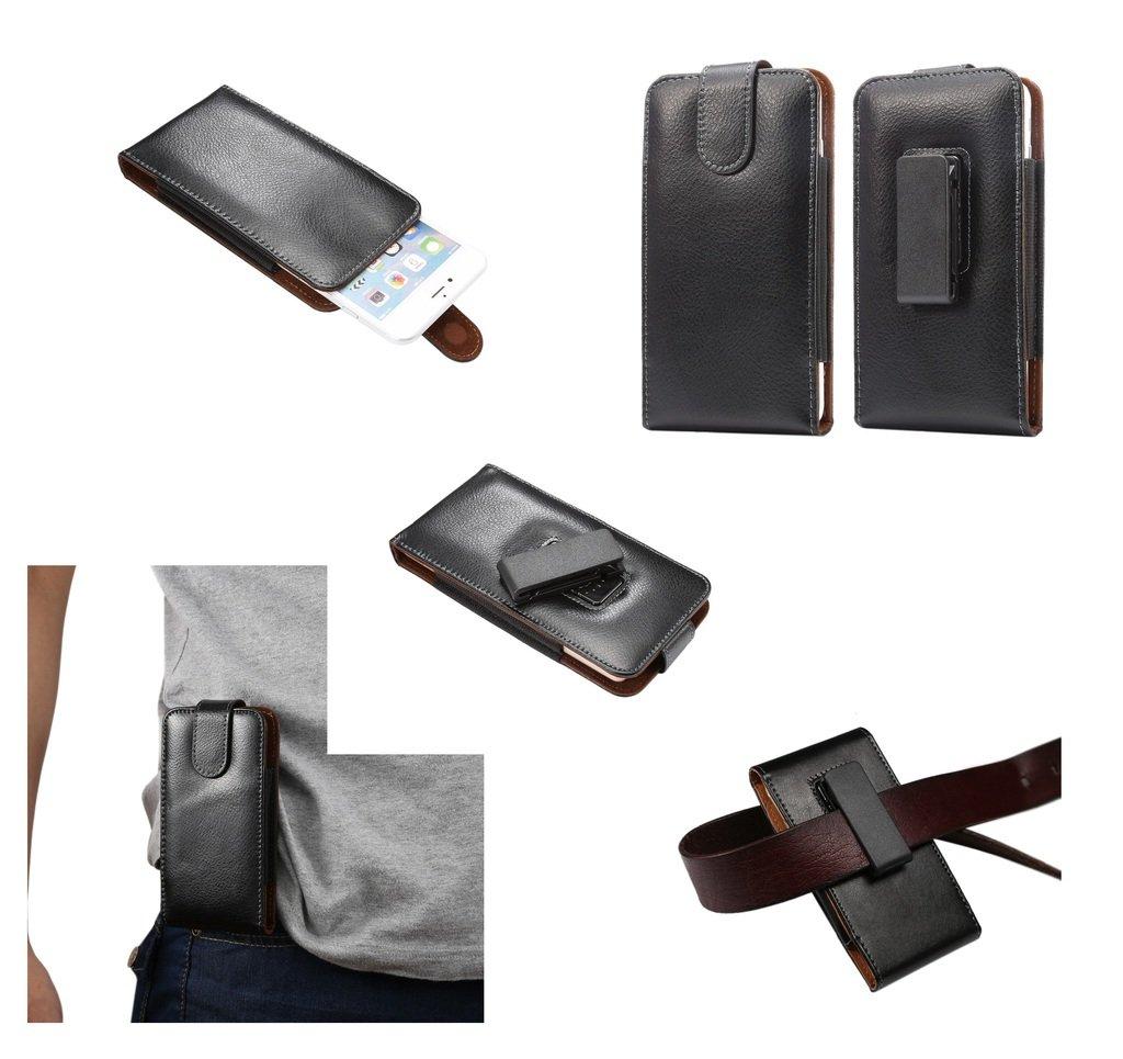 DFV mobile Funda Premium de Cinturon con Clip Giratorio 360/º Piel Autentica para = ASUS ZENFONE 2 Laser ZE601KL  Negra