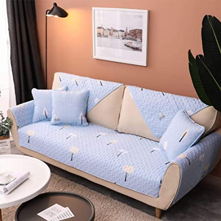 ABUKJM Fundas De Sofa Anti Gatos,Algodón Lindo Patrón De Flores Simple Moderno Antideslizante Salón Conjunto De Sofás Azul Sueño/110 * 180Cm(1 Piezas): Amazon.es: Hogar