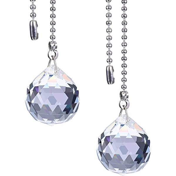 JPGhaha 2 Pcs Light Pull Chain Tiger Eye Natural Stone Crystal Agates Pendulum Pendant 85cm Ball Pull Chain Extension with Connectors Fit for Ceiling Light Fan Switch Weight Blind Pull Cord Bathroom