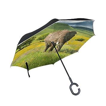 ALAZA La Prueba de Doble Capa Paraguas invertido Coches inversa Paraguas a Prueba de Viento Elefante