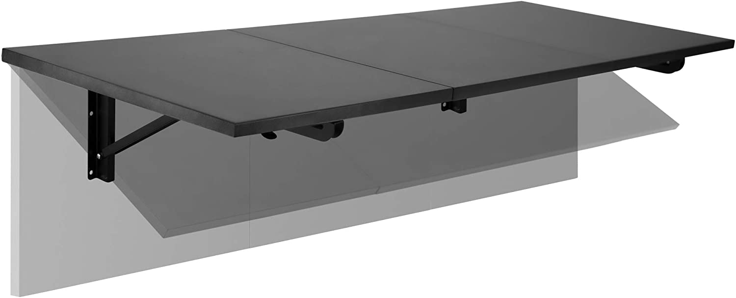 """MOUNT-IT Heavy Duty Drop Down Table [45""""x15 x7.125"""" 110 lbs] Wall Mounted Drop Leaf Tables, Collapsible, Folding Workbench for Home Office, Laundry Room, Garage, Basement Bar, Study or Kitchen (BLACK)"""