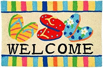 Bright Colors Flip Flop Welcome Jellybean Accent Area Rug