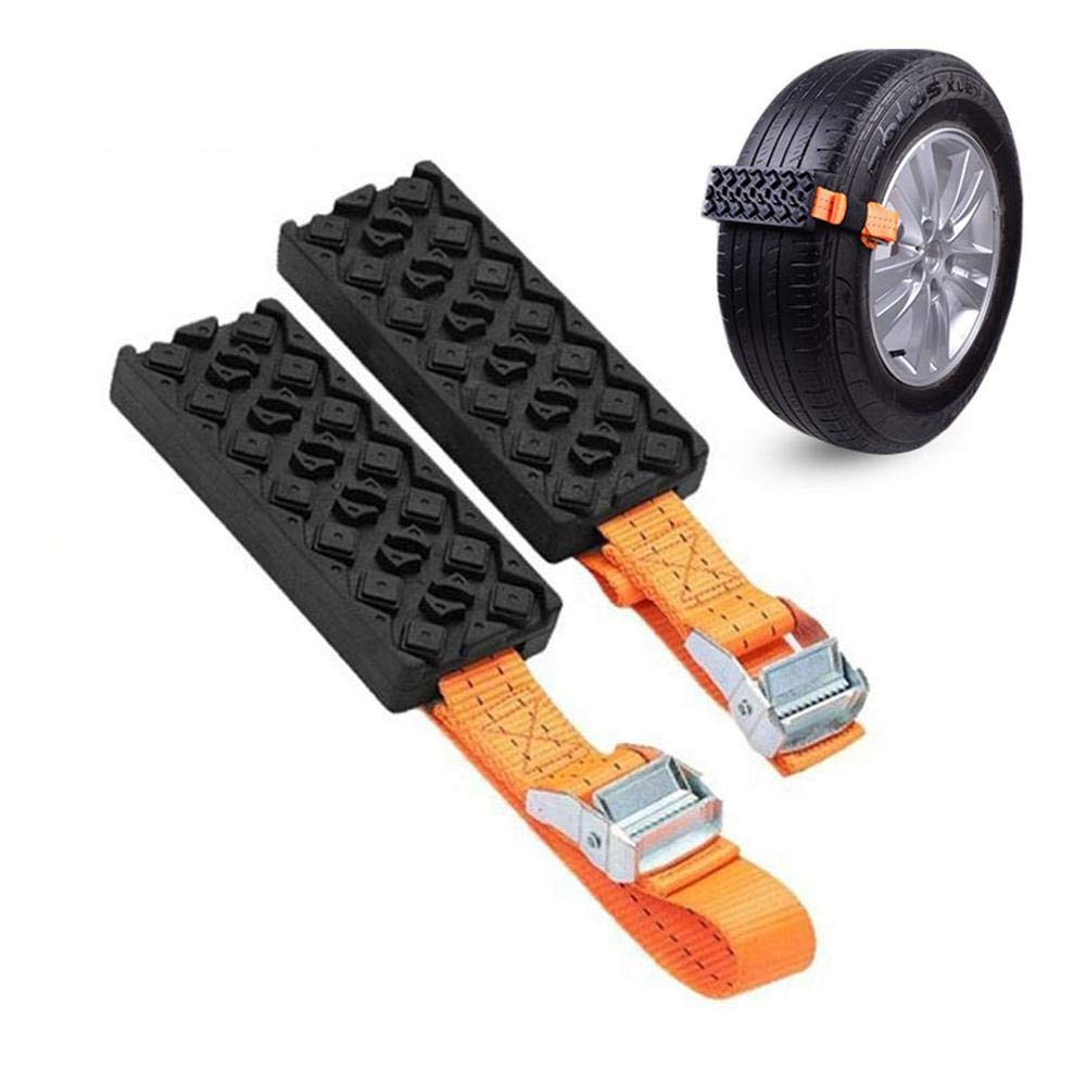 KOBWA 2Pcs Anti-Skid Tire Blocks, Emergency Cable Snow Chain Car Tire Straps Traction for Car Truck & SUV on Snow Ice Mud Road – 5 Seconds Fast Installation