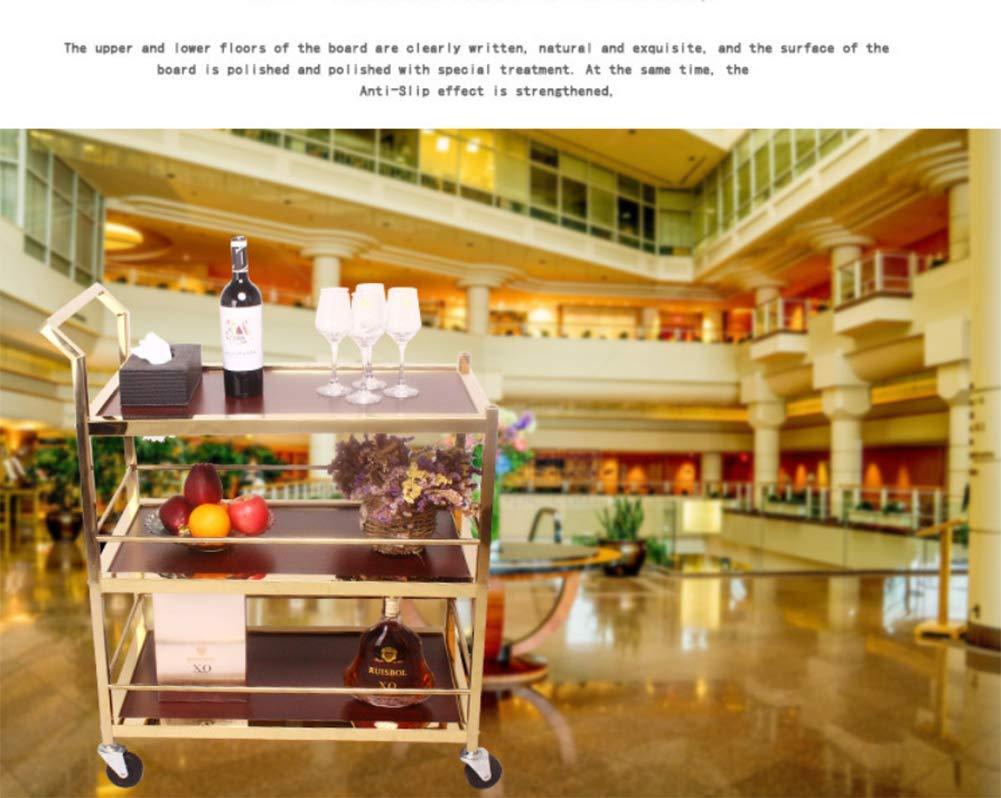 MEYLEE Carrito De Utilidad De 3 Estantes/Carrito De Servicio De Hotel - Servicio Pesado - Acero Inoxidable - Admite hasta 150 LB - Dorado: Amazon.es: ...
