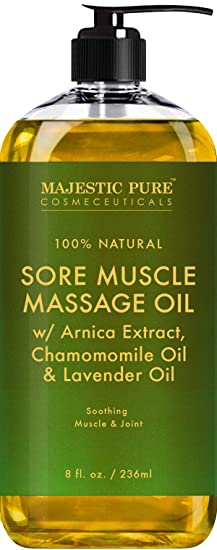 Majestic Pure Arnica Sore Muscle Massage Oil For Body   Best Natural Therapy With Lavender And Chamomile Essential Oils   Warming, Relaxing, Massaging Joint Pain Relief Support   8 Fl. Oz by Majestic Pure