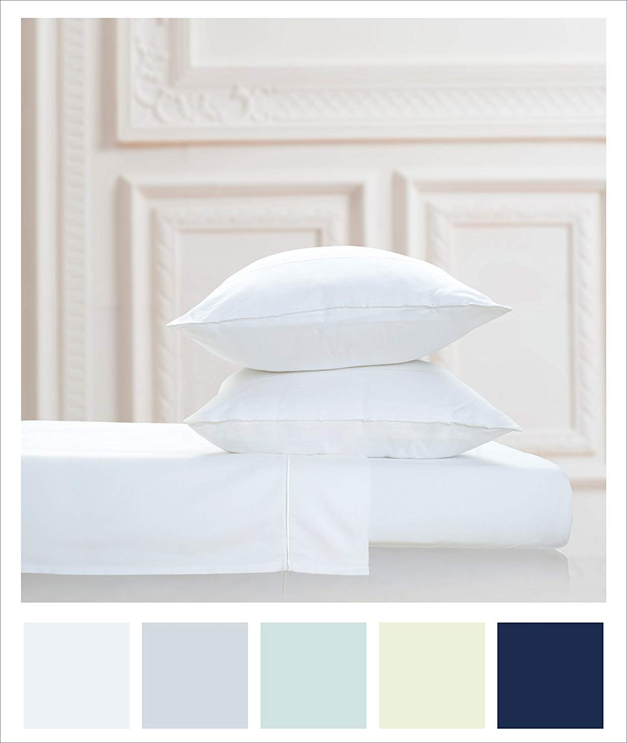 VGI Linen Authentic Heavy Quality Hotel Collection 100% Egyptian Cotton- Super Soft 1500 Thread Count 2-PCs Pillow Cases Solid Style Available in Many Sizes & Color's (Queen, White)