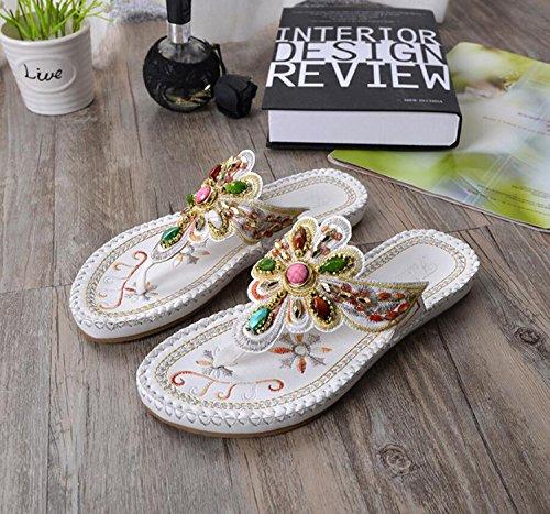 DANDANJIE Style Pour Blanc Femme de D'Été des de Sandales Blanc Sandales Ethnique Plates Plage et Sandales Décontractées Sandales Noir avec 1nBwpr16qY
