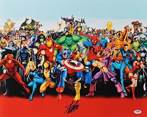 Stan Lee Signed Marvel Comics Universe Cast 16X20 Photo Autographed PSA/DNA