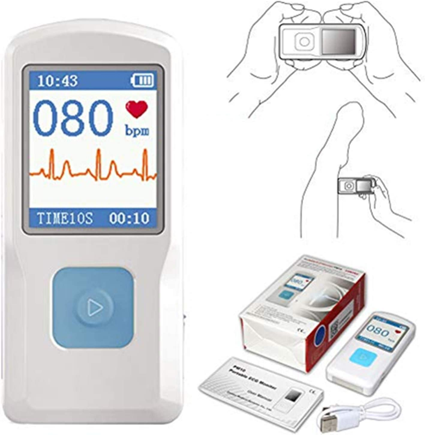 CONTEC Portable ECG/EKG Monitor PC Software Electrocardiogram Bluetooth Heart Rate Beat LCD Monitor PM10