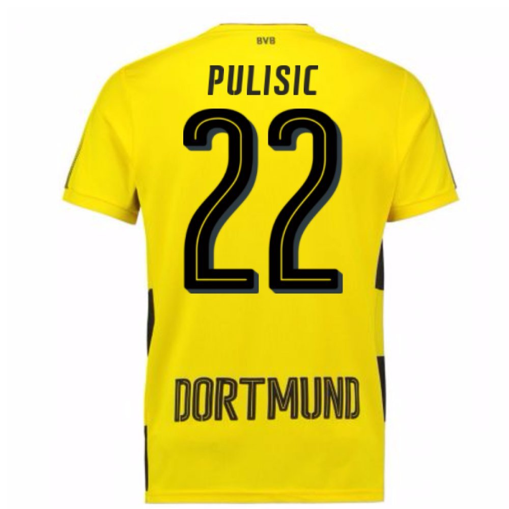 2017-18 Borussia Dortmund Home Short Sleeve Football Soccer T-Shirt Trikot (Christian Pulisic 22)