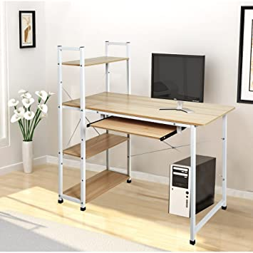 Gentil Dporticus 49u0026quot; Home Office Workstation Computer Desk Bookshelf With 4  Tiers Shelves And Pullout Keyboard