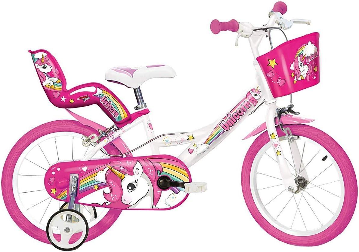 Dino Bikes Bicicleta de Niños Unicorn Rosa Infantil Sillín Regulable 12/14/16