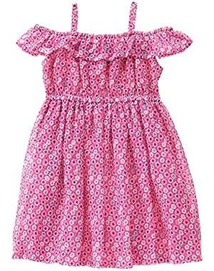 Baby Toddler Girls' Cold Shoulder Sea Print Dress