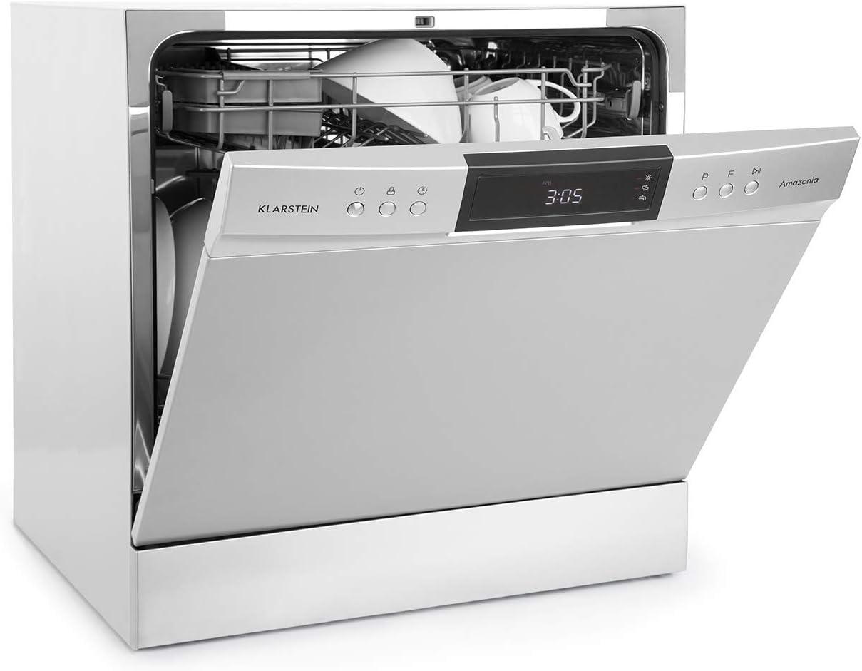 Klarstein Amazonia - Lavavajillas, Máquina lavaplatos, 8 programas: intensivo, normal, ECO, vidrio, 90 minutos, rápido, fruta, autolavado, Pantalla LED, Plateado
