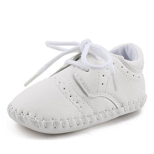 DELEBAO Zapatos de Bebé Primeros Pasos para Niño Niña Zapatillas de Bebé Antideslizante de Encaje hasta