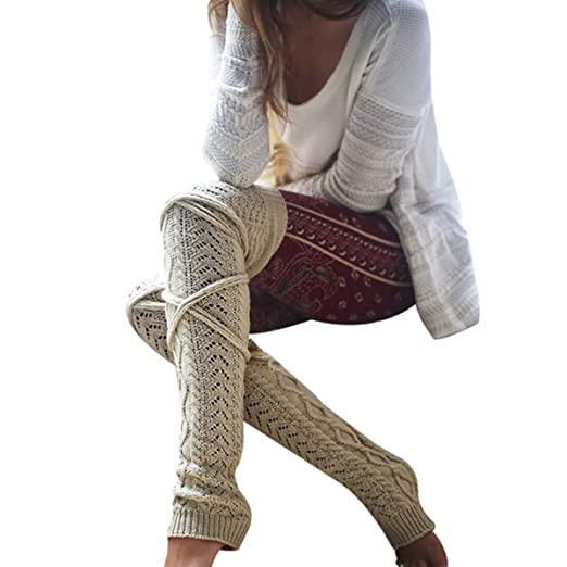 7eabaaf5fdbf7 Image Unavailable. Image not available for. Color: FUNOC Women Winter Warm  Cable Knitted Long Boot Socks Over Knee Thigh High Stockings Leggings