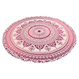 Fedor Mandala Round Tapestry Wall Hanging - Hippy Beach Throw - Round Yoga Sheet, 72'' Multicolor 100% Cotton (Pink)