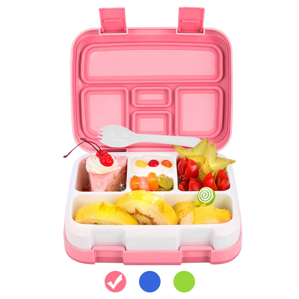 Lunch Box for Kids Bento Box BPA-Free DaCool Upgraded Toddler School Lunch Container with Spoon 5-Compartment Leak Proof Durable, Meal Fruit Snack Packing for Picnic Outdoors, Microwave Safe - Pink