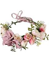 Vivivalue Flower Wreath Headband Crown Floral Garland Boho for Festival Wedding