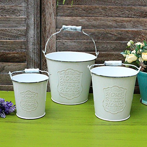 VANCORE Vintage White Shabby Chic Mini Metal Pitcher Flower Vase (White 3PCS/Set) Review