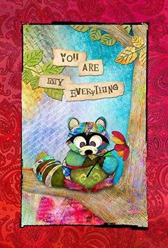 Toland Home Garden Sentimental Raccoon 12.5 x 18 Inch Decorative Colorful Animal Flower Love Garden Flag