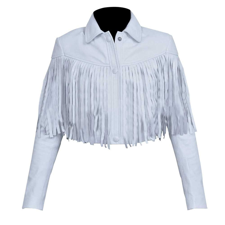 Sloane Peterson Ferris Bueller's Day Off Mia Sara White Fringe Moto Leather Jacket