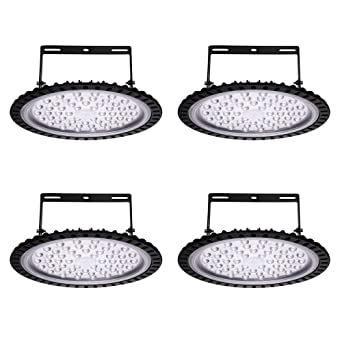 Yuanline 4x 200W UFO Iluminación LED Alta, Lámpara Industrial Ultra Delgada,Lámpara Industrial de