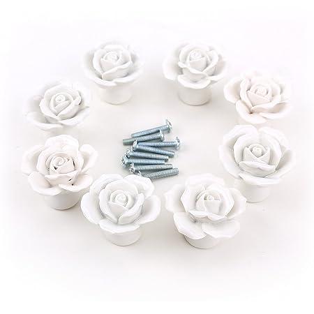 Dproptel 8PCS White Ceramic Vintage Floral Rose Door Knobs Handle ...