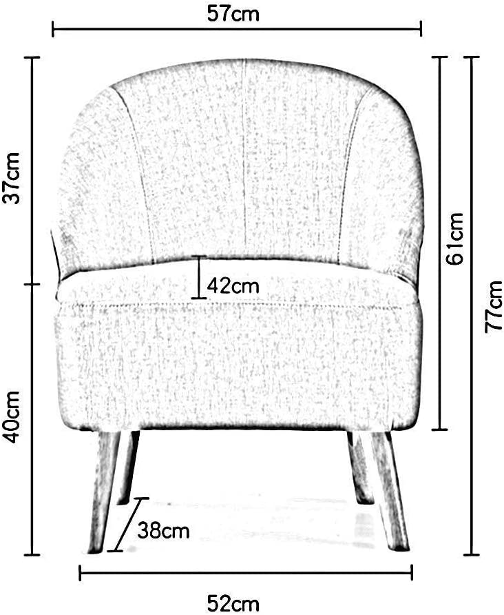 HH-HH Mini Sofa - Solid Wood Fabric Backrest Dining Chair Simple Nordic Restaurant Low Back Casual Coffee Chair Washable (Color : A) H