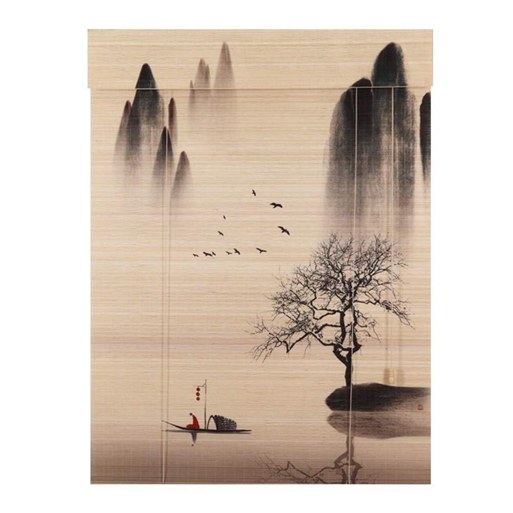 WUFENG Cortina De Bambú Entrada Fondo Decoración Cortar Sombreado Persiana, 3 Estilos Múltiples Tamaños Puede Ser Personalizado Cortina (Color : A, ...