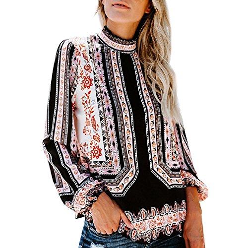Women Vintage Boho Long Sleeve Shirt Ruffle Turtleneck Casual Blouse Loose Top(Black,Small)