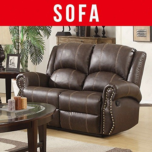 SUNCOO 3-Piece Bonded Leather Recliner Sofa Set with Cup Holder Gold Thread Loveseat Chair Living Room Furniture Set Brown