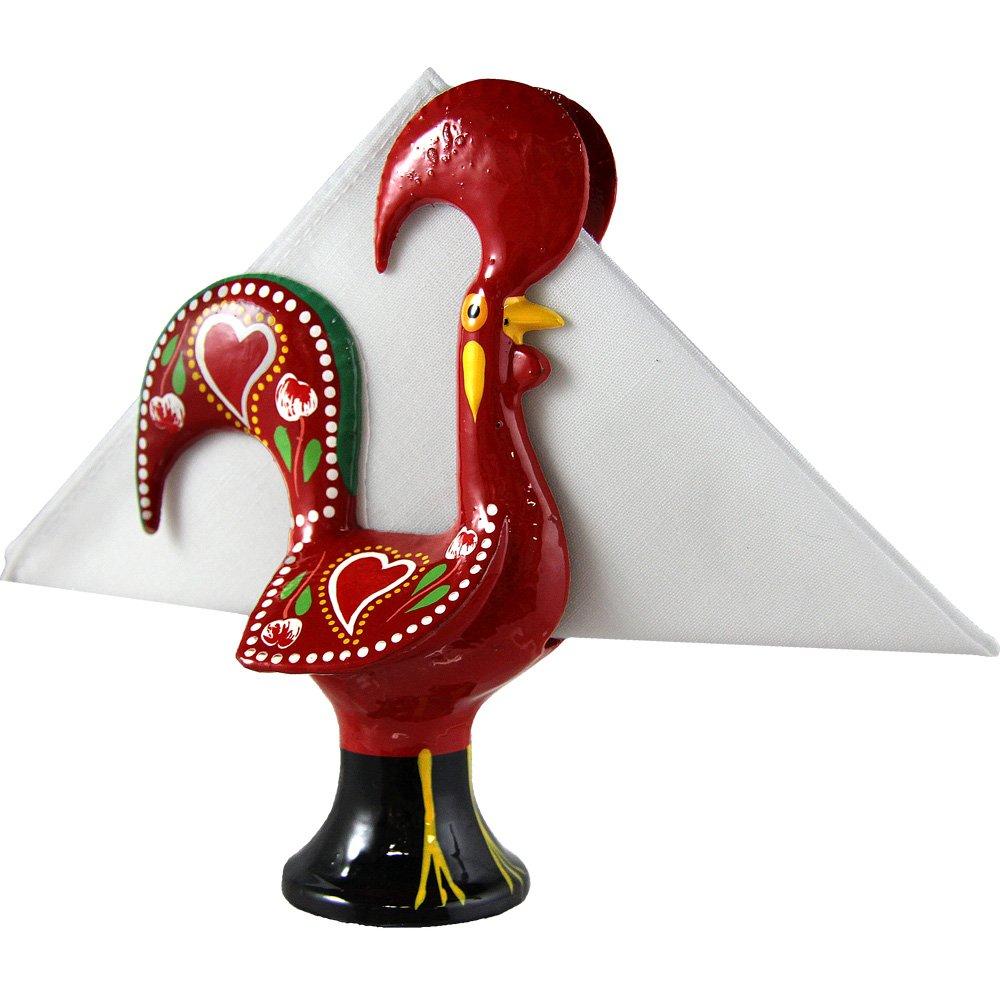 手描きヴィンテージポルトガル語アルミGood Luck Roosterナプキンホルダー レッド  レッド B06ZZ9BL5P