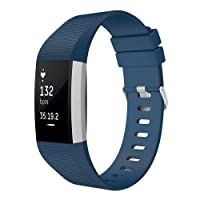 for Fitbit Charge 2 Band, Simpeak Classic Soft TPU Adjustable Replacement Bands Fitness Sport Strap for Fitbit Charge2 HR Tracker, Silver Buckle, Small Blue