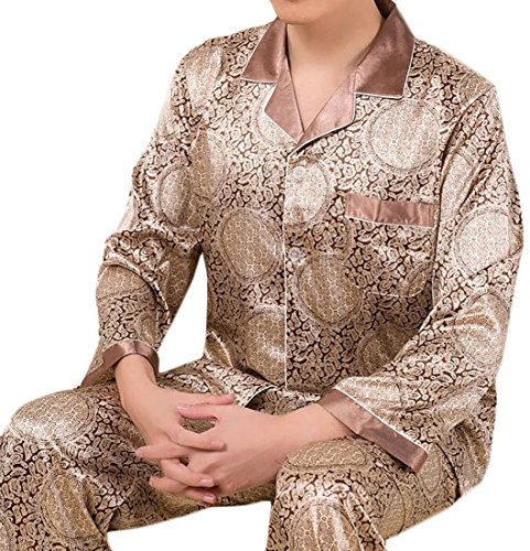 LD Men Long Sleeve Sleepwear Loungewear Silk Satin Pajama Set 8 L - New Mens Silk Satin Pajama