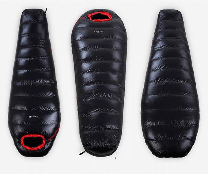 Kingentle Ultraligero Saco de Dormir Tipo Momia, plumón de pato, para las 4 temporadas,a prueba de agua, Saco de compresión (Negro(1000g plumón de pato)): ...